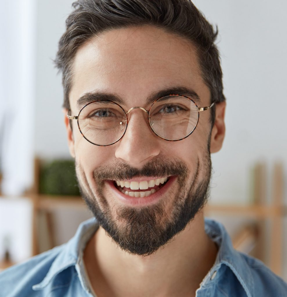 Smiling man wearing glasses